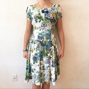 80s Cotton Pouf Sleeve Midi Floral Dress Bowtie